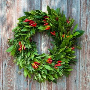Edible Herb and Chilli Christmas Wreath